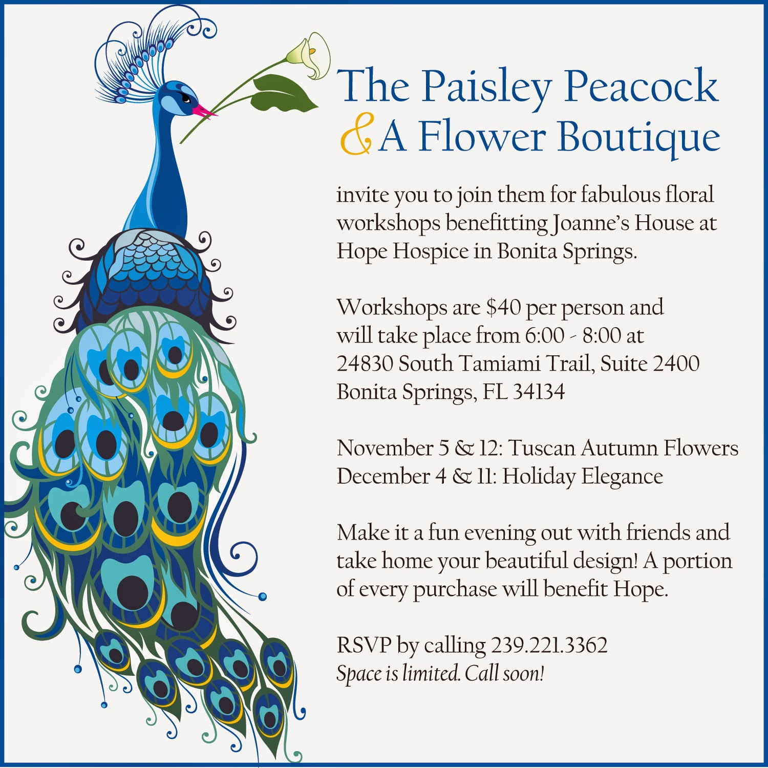 News From Hope Healthcare Special Event The Paisley Peacock A