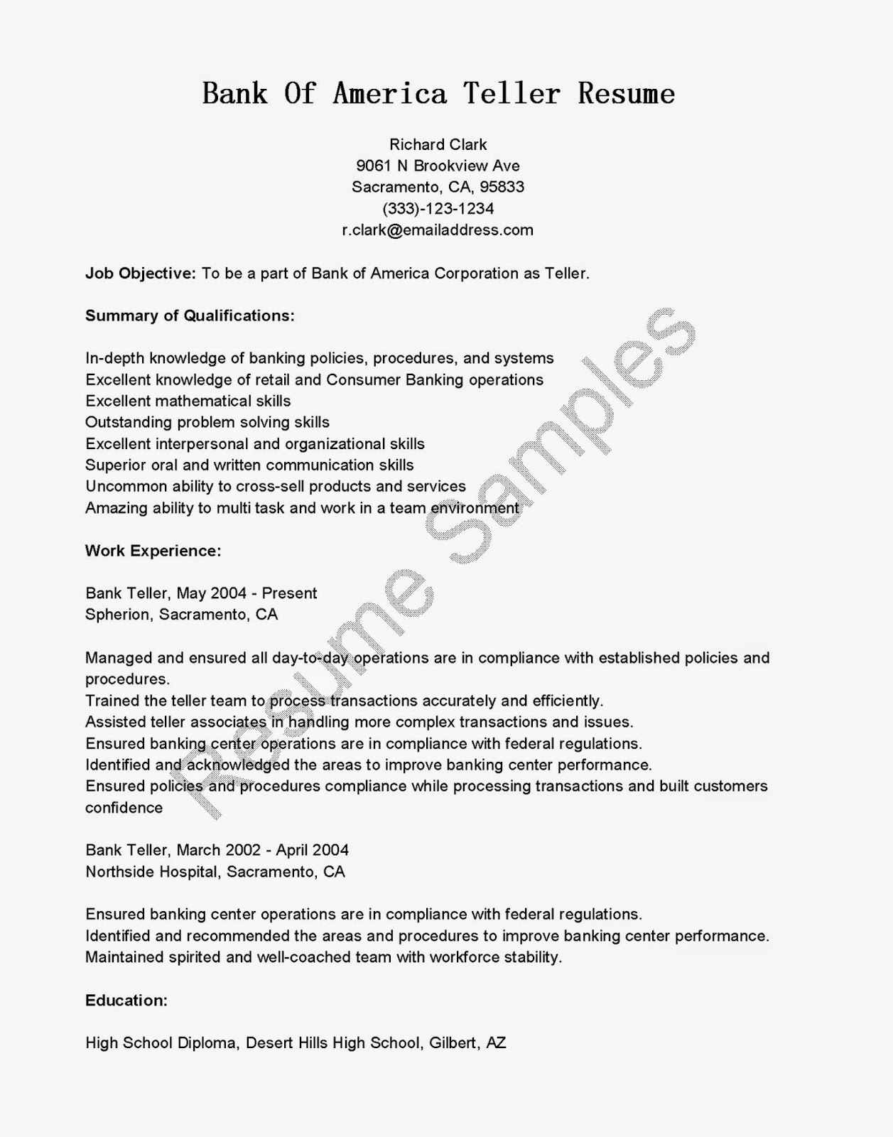 Great Sample Resume Resume Samples Bank America