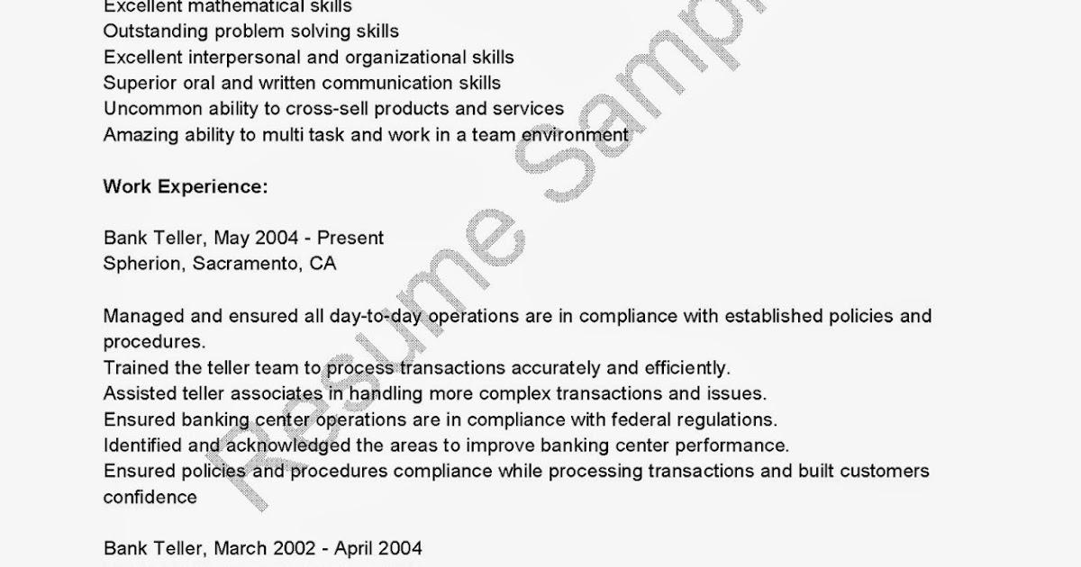 resume samples  bank of america teller resume sample