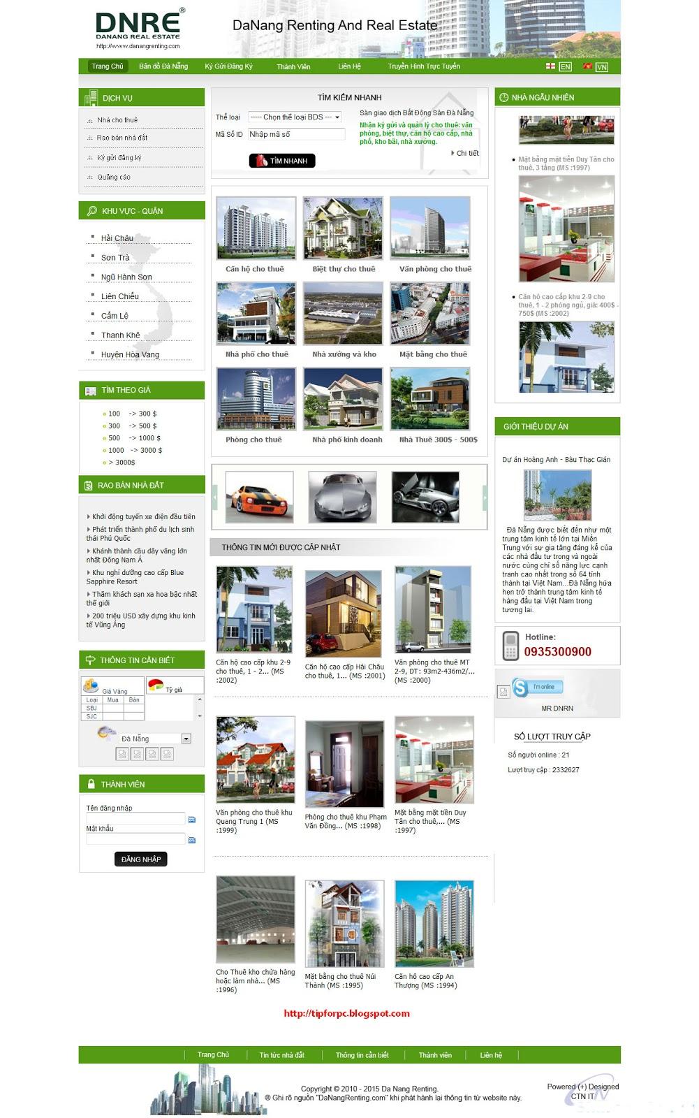 Source PHP Mã nguồn Website Quản lý bất động sản đà nẵng