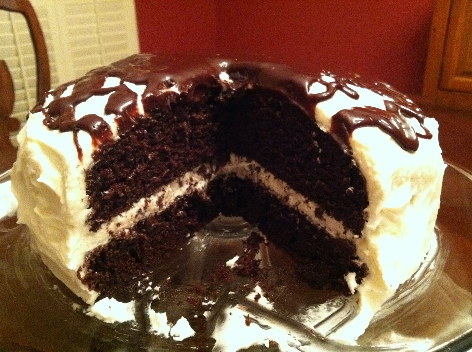 Chocolate Cake with Buttercream Frosting and Chocolate Ganache