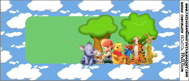 etiquetas para imprimir gratis, para poner en chocolates,  de Winnie de Pooh y sus amigos