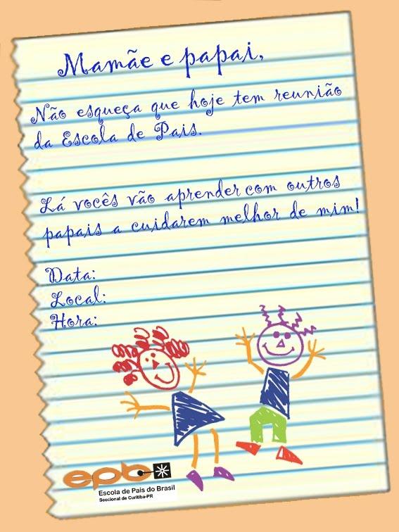 Escola De Pais Seccional De Curitiba Desenvolveu Um Modelo De Convite