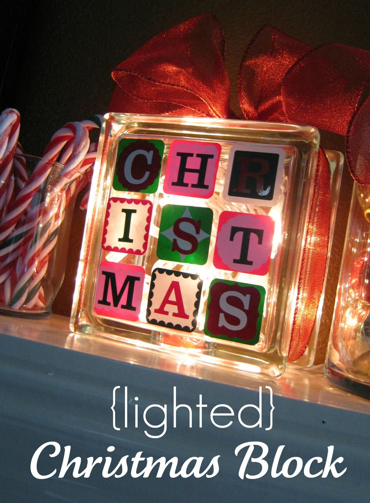 Lighted christmas block ginger snap crafts sugar bee for Hollow glass blocks for crafts
