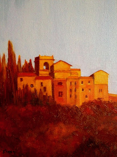 oil painting of an older Tuscan Village