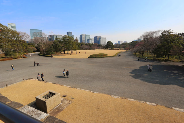 Tenshudai Donjon Base of Edo Period was symbolised the authority of the Tokugawa Shogunate but being burnt down at Imperial Palace East Garden in Tokyo, Japan