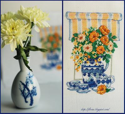Dimensions 06790 Цветочное чаепитие Teatime Floral, вышивка для бабушки, вышивка букет, вышивка чашки, вышивка натюрморт, ваза с цветами, ваза с чашками, дименшинс ваза, вышивка дим чаепитие,