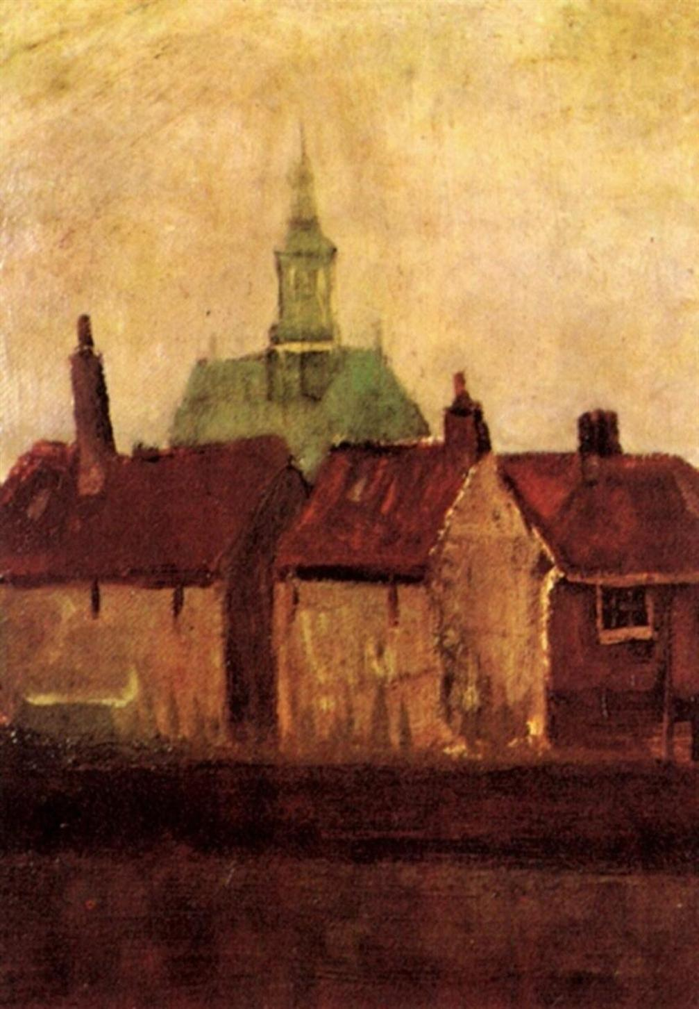 Cluster of Old Houses With the New Church in The Hague by Vincent van Gogh, Alternate Brighter Image