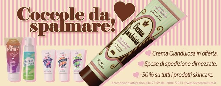 Neve Cosmetics - Crema Gianduiosa, promozione Skincare -30% e sconto spedizione