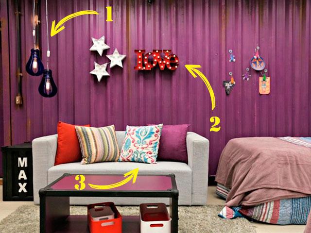bbb decoração industrial quarto roxo