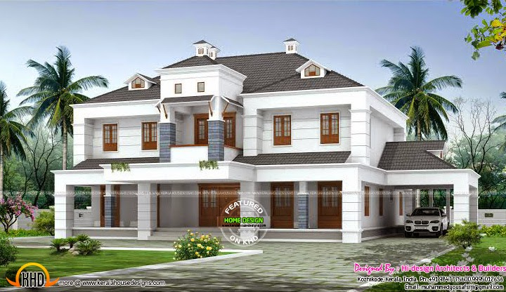 Colonial style dormer window home kerala home design and for Colonial style house plans kerala