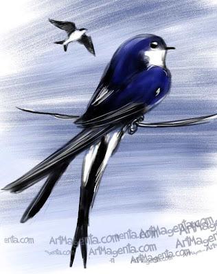 Hussvala är en fåglemålning av ArtMagenta.
