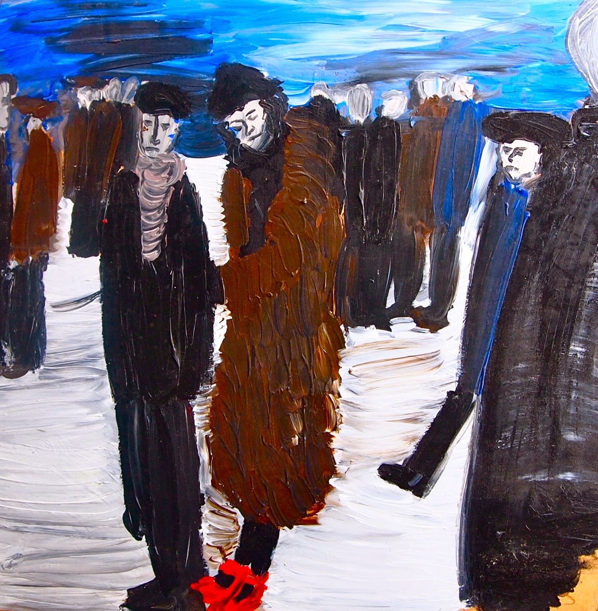 Expressionist crowd scene in snow