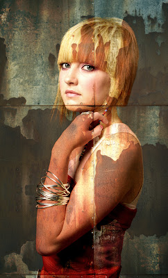 woman blonde hair bowl cut, special effects, photoshop, photography