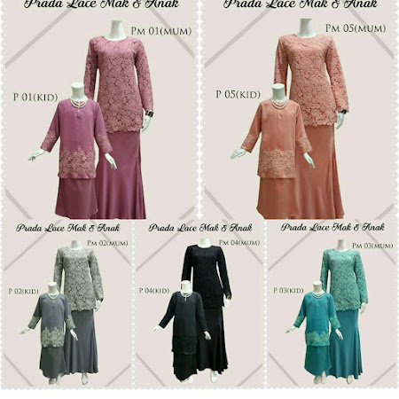 Sangat Menawan Kurung Modern Sedondon MAk & Anak Prada LAce