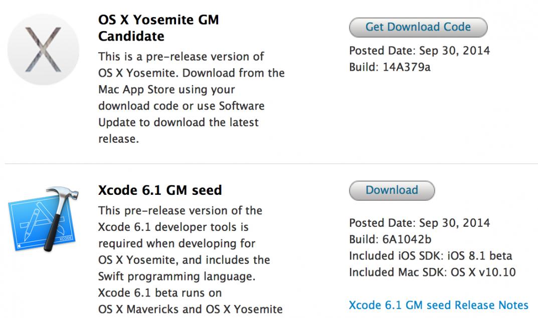 Mac OS X 10.10 Yosemite GM Candidate (14A379a), Public Beta 4 (14A379b), Xcode 6.1 GM (6A1042b)