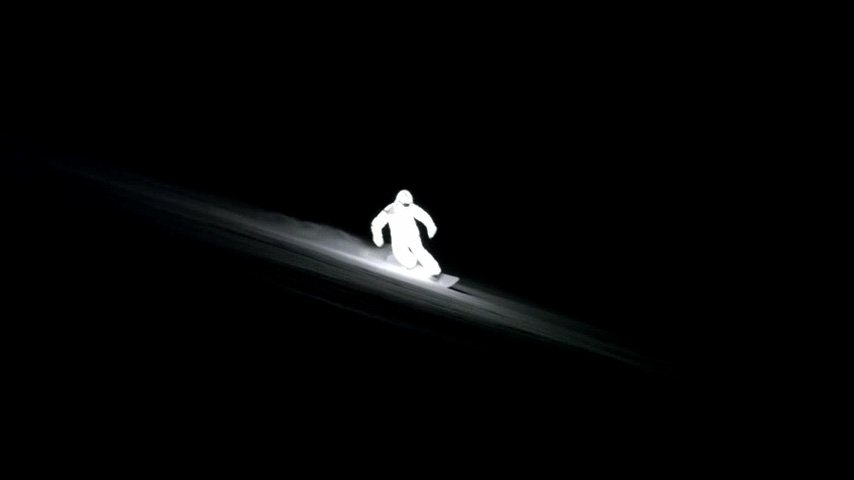 A Night-time Snowboarding Short Lights Up the Last of the Winter Snow, led suit