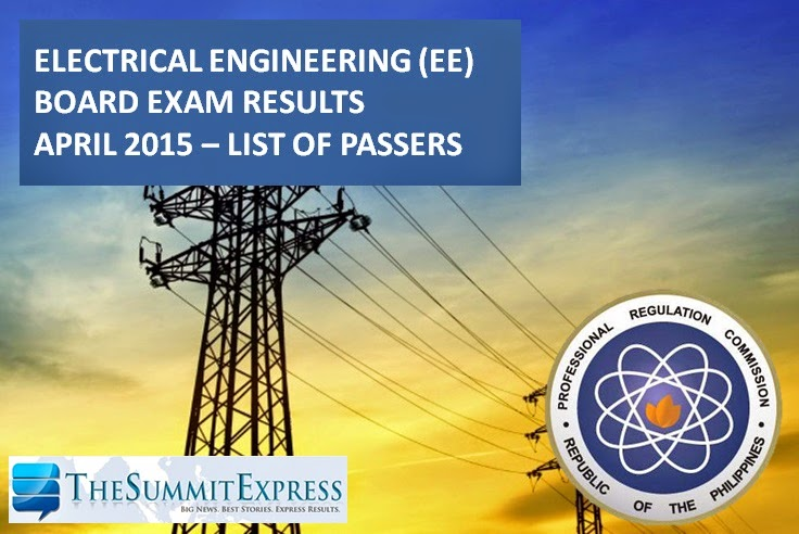 April 2015 Electrical Engineer REE, RME board exam results