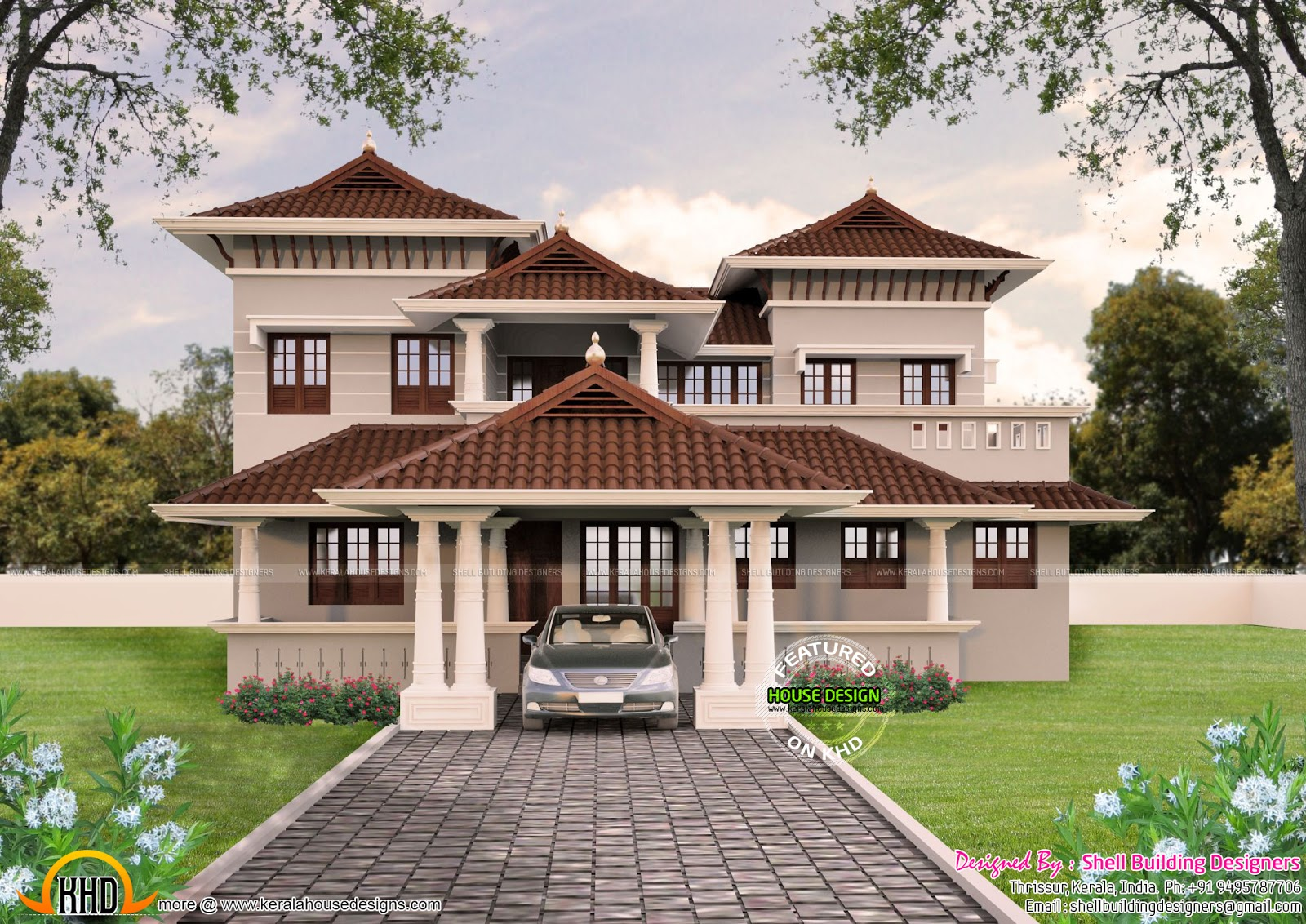 Beautiful sloping roof house plan kerala home design and for Beautiful farmhouse plans