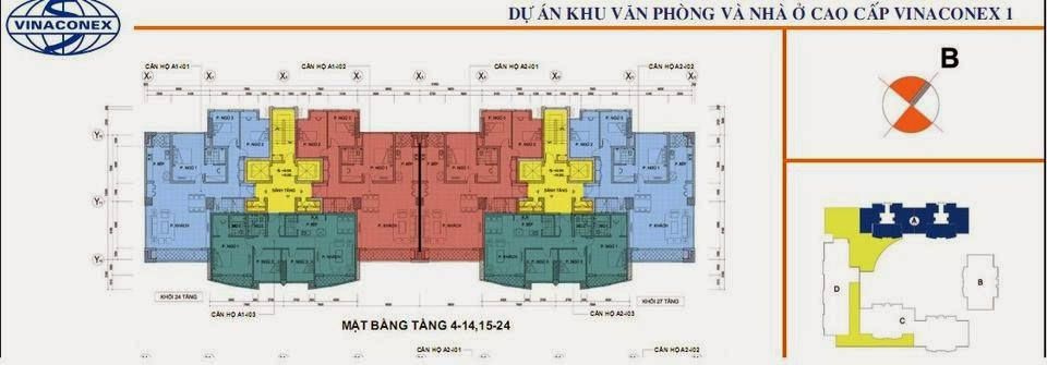 Mặt bằng sàn thiết kế chi tiết tòa A - chung cư Vinaconex 1, 289 Khuất Duy Tiến