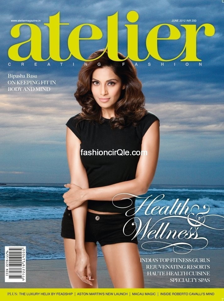 Bipasha Basu looking hot in all black - atelier cover  - Bipasha basu  Atelier Magazine cover-- black shorts