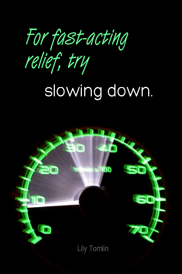 visual quote - image quotation for CALMNESS - For fast-acting relief, try slowing down. - Lily Tomlin