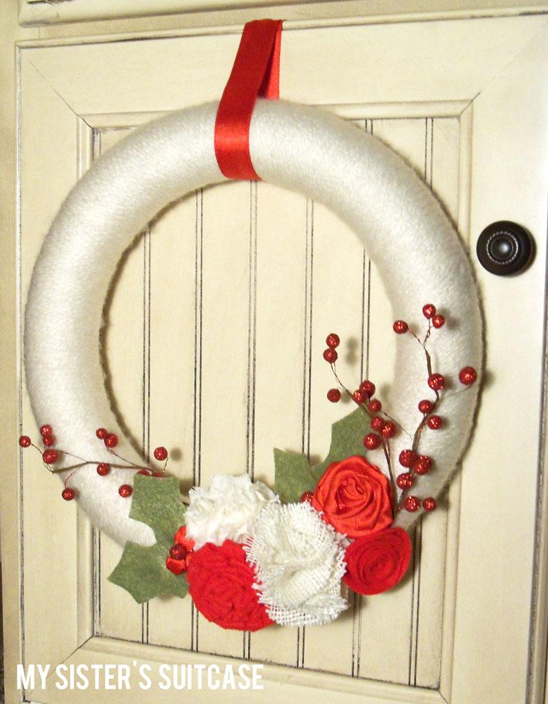 Handmade Gift: {Christmas Yarn Wreath}