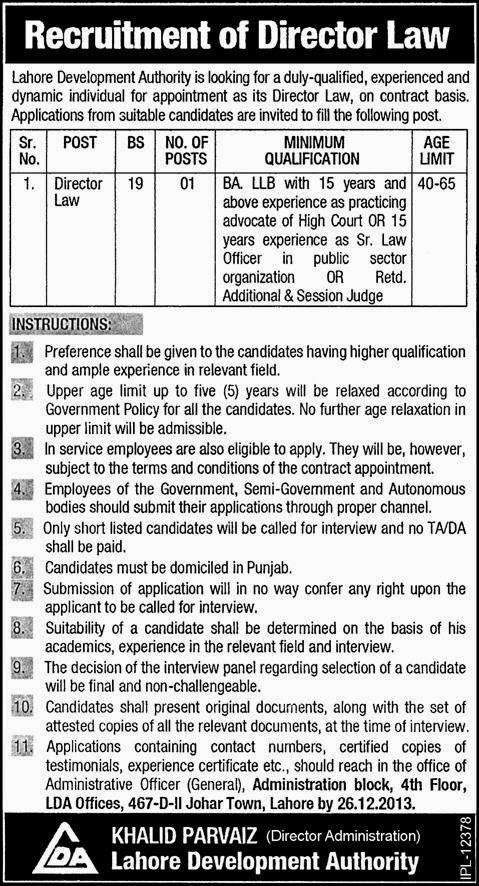 Required Director Law in Lahore Development Authority, Lahore