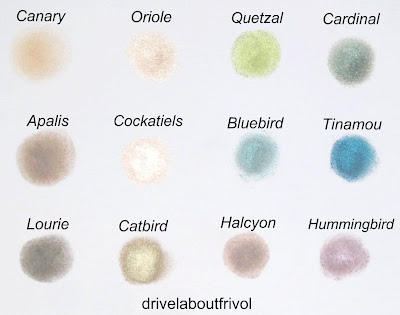 RBR Rouge Bunny Rouge eyeshadow swatch Delicate Hummingbird, Solstice Halcyon, Mysterious Tinamou, Mountain Bluebird, Periwinkle Cardinal, Resplendent Quetzal, Abyssinian Catbird, Angelic Cockatiels, Unforgettable Oriole, Grey Go-Away Lourie, Chestnut-Napped Apalis, Papyrus Canary