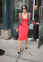 Padma Lakshmi exiting her building