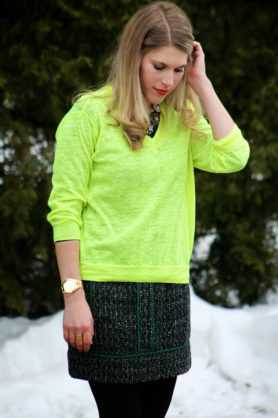 Neon Sweater and Tweed Skirt