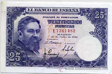 Billete de 25 pesetas de 1954 - Isaac Albéniz
