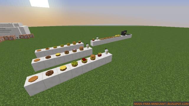 Diferentes comidas que se pueden hacer en este mapa para Minecraft 1.8