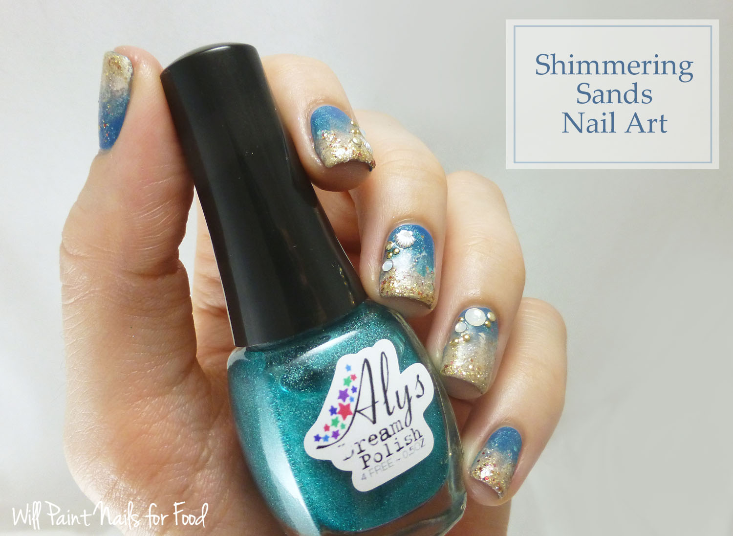 Shimmering sands beach nail art