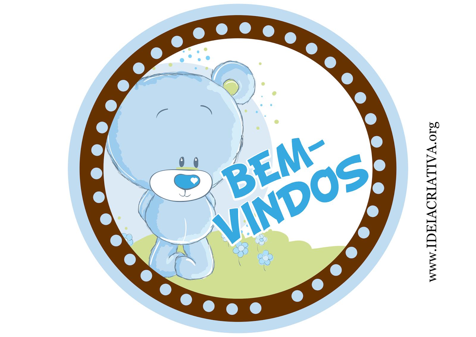 Placa para Porta Tema Ursinho Azul e Marrom
