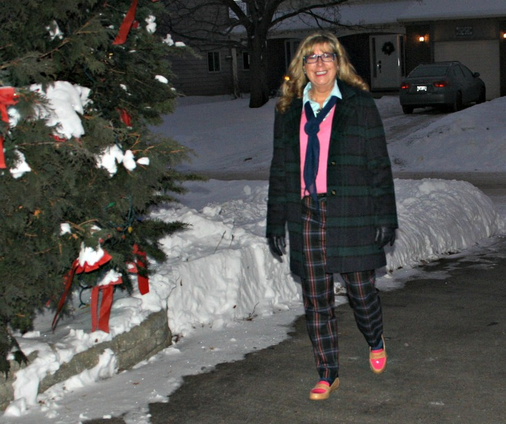 Forever 21 Plaid coat withTarget plaid pants with a pink cashmere sweater  and tommy loafers 3