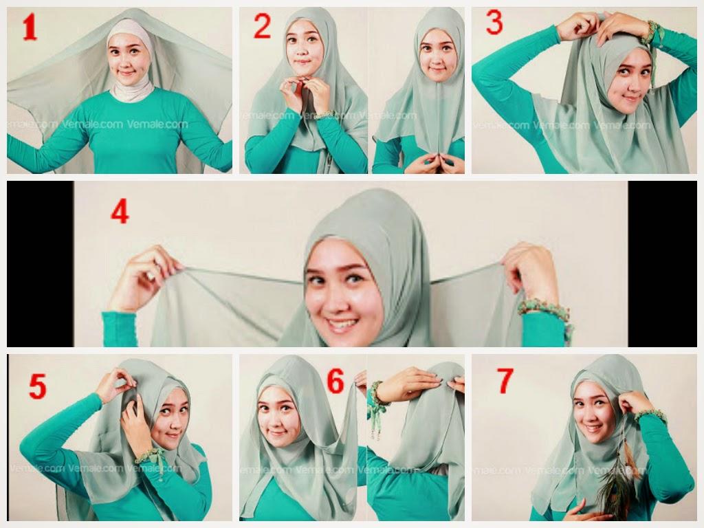 2 Kumpulan Gambar Tutorial Hijab Segi Empat Modern Terlengkap