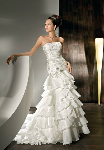 Satin and Organza Strapless Mermaid 2 in 1 Wedding Dress