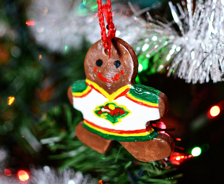 homemade salt dough Minnesota Wild ornament
