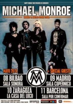 Conciertos de Michael Monroe en Madrid, Barcelona, Bilbao y Zaragoza en mayo