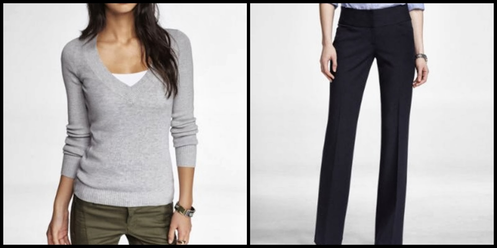 fitted v neck pullover, sweater, editor pants