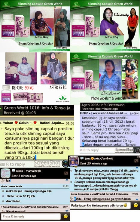 Kesaksian Pelangsing Green World - Slimming Capsul + Pro Slim Tea