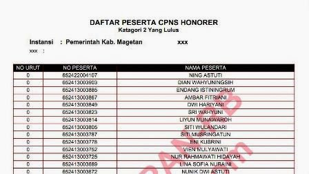 Pengumuman Hasil Seleksi CPNS Honorer k2 Magetan 2014