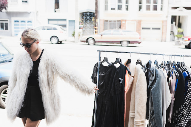 Blogger sidewalk sale, sidewalk sale, Sf style, faux fur coat, Missguided, SF,HP, sponsored post,