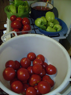 Tomate şi ardei/ Tomatoes, bell peppers and chili peppers...ready to be prepared for cooking