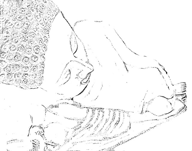 sketch of sleeping buddha