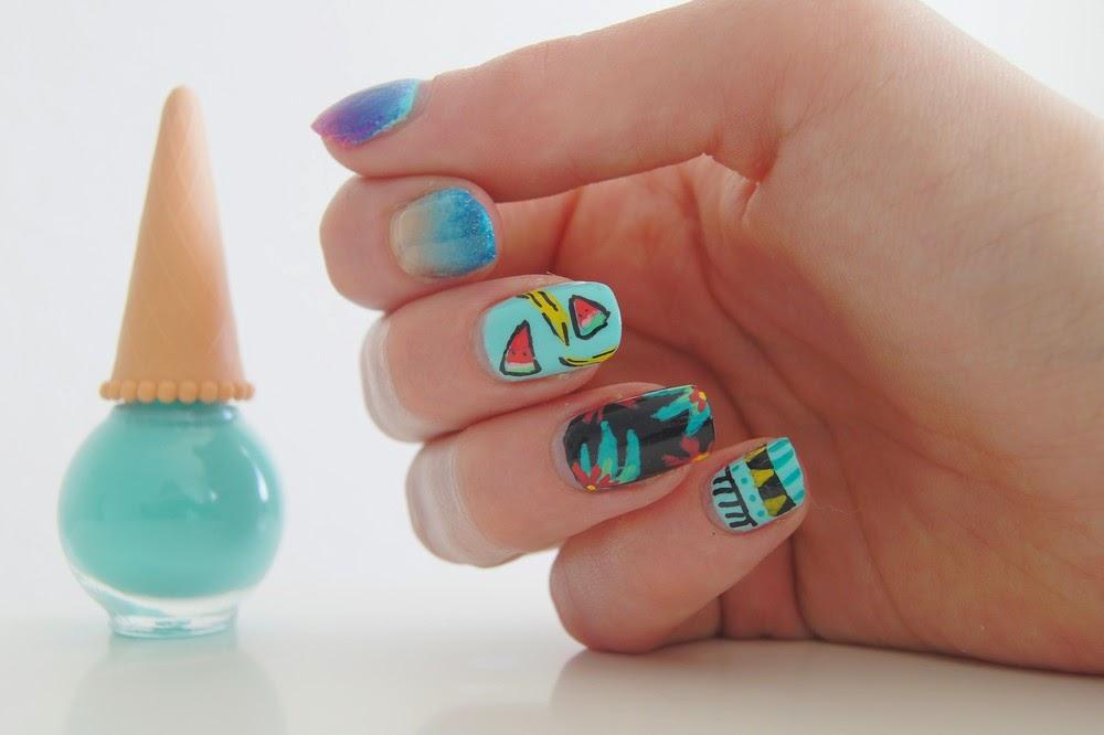 nail art été tropical plage fruits