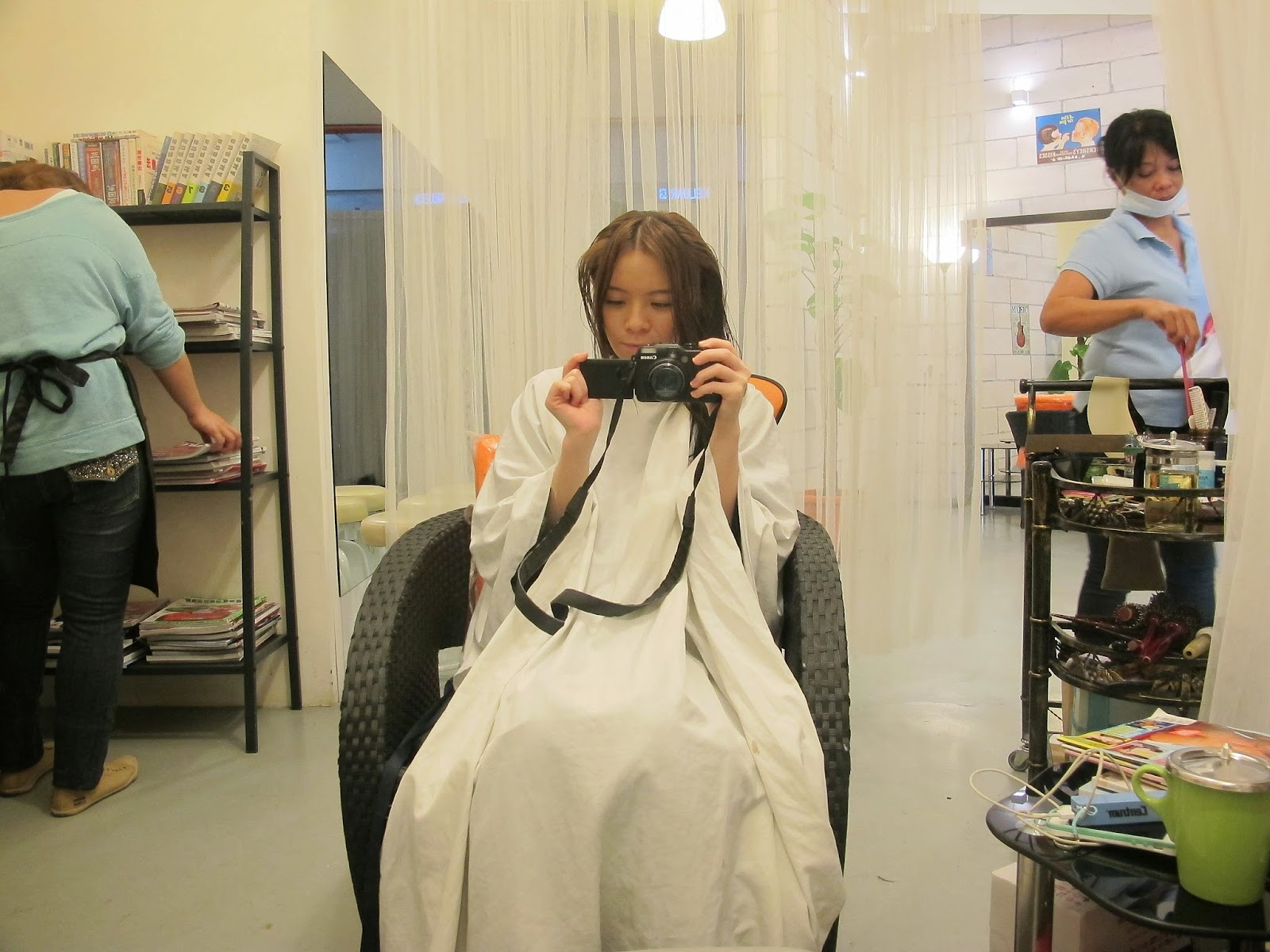 girl getting haircut