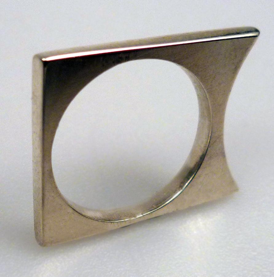 matt white jewelry square ring