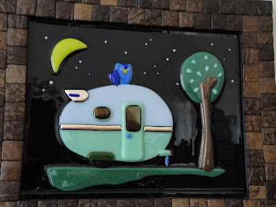 fused glass teardrop vintage trailer owl night stars camping glamping  dichroic dicro crescent moon